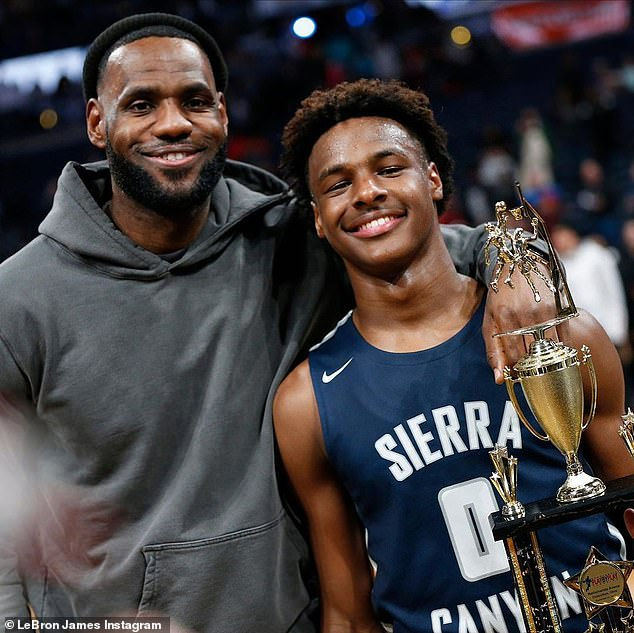 Young Simba: The photos spanned Bronny's life up until recently where he is a standout player for high school basketball powerhouse Sierra Canyon in Chatsworth, California