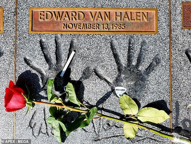 Vivid: Fans decorated Eddie's handprints atHollywood Guitar Center