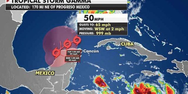 The forecast track of Tropical Storm Gamma