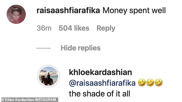 Hitting back: Khloe was quick to respond to a fan comment that claimed she had spent money on her appearance