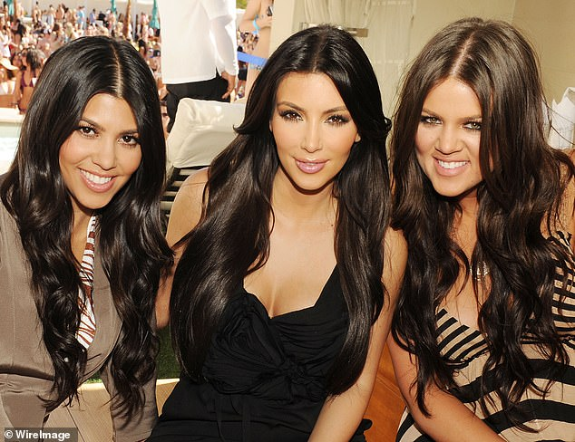 Evolution: Khloe with her sisters Kourtney and Kim at an event in Las Vegas in 2010