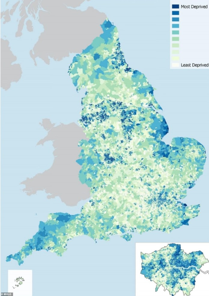 This map shows further signals that the North of England has higher levels of deprivation, which experts argue may put it at risk of higher levels of coronavirus