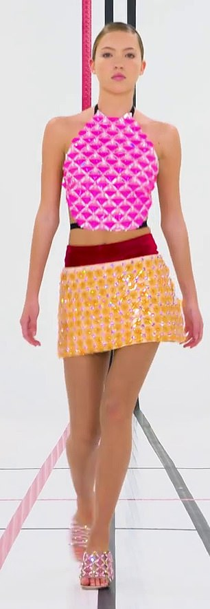 Dazzling: Lila cut a very fashionable figure in a dazzling pink sequined top, which was tied at the back with black straps and teamed with a similar style skirt