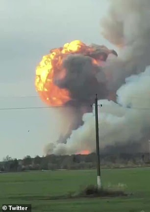 An explosion seen from a nearby car