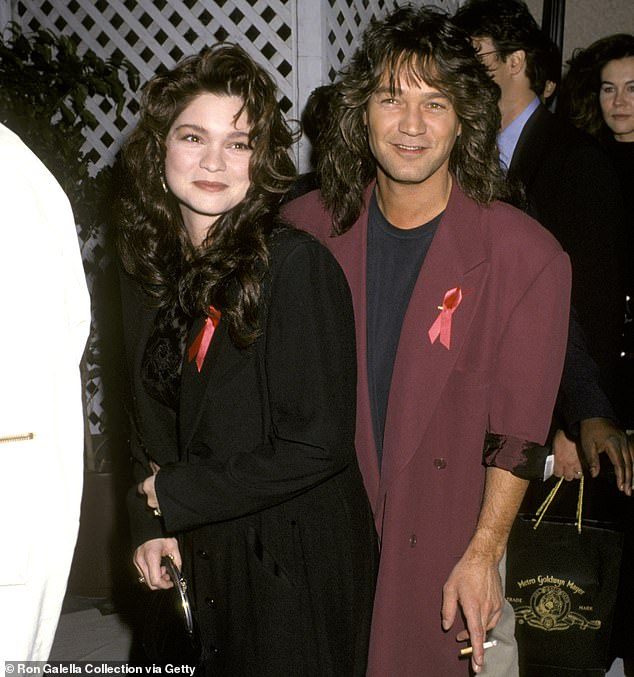 Throat cancer can also be caused by HPV, but it is unknown if Van Halen's cancer was caused by the sexually transmitted infection. Pictured: Van Halen (right) with then-wife, actress Valerie Bertinielli, in November 1992