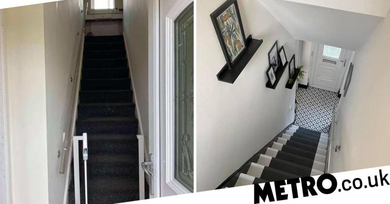Mum quoted hundreds to redo stairs does it herself for less than £100