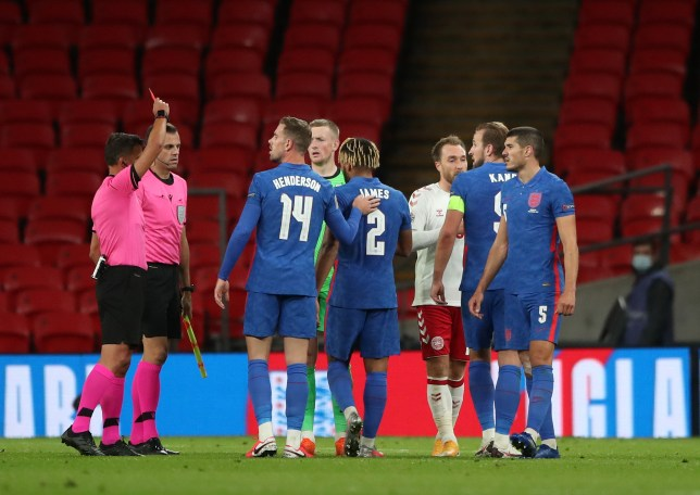 Chelsea's Reece James is shown a red card after England's Nations League defeat in Denmark