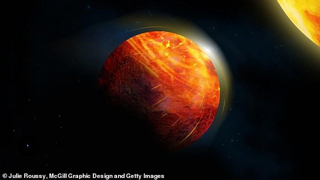 At the center of the large illuminated region of this artists impression of K2-141b there is an ocean of molten rock overlain by an atmosphere of rock vapour