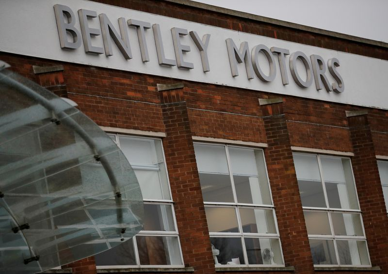 © Reuters. FILE PHOTO: Signage is seen outside the Bentley Motors factory in Crewe