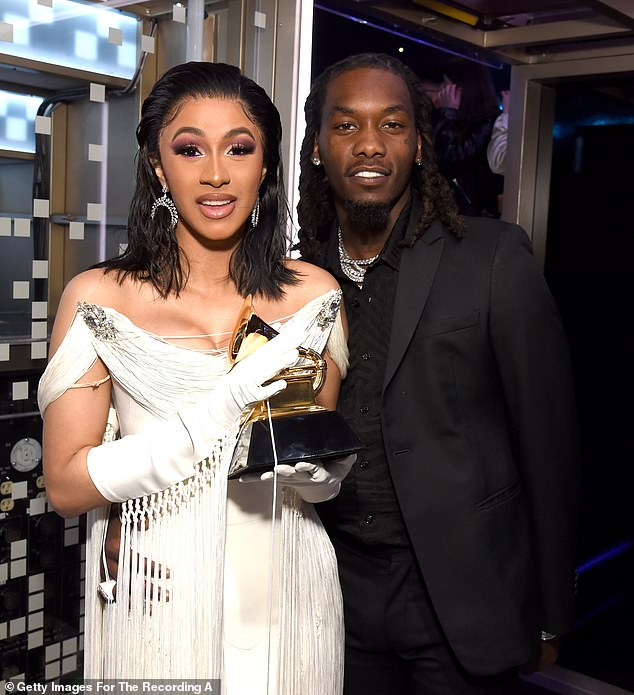 Rekindling the relationship:Cardi B has officially filed to call off divorce from fellow rapper husband Offset less than two months after branding their marriage 'irretrievably broken' according to a TMZ report on Monday, as they are seen in February 2019