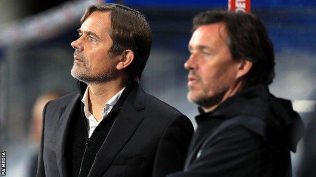 Derby manager Phillip Cocu and assistant Chris van der Weerden