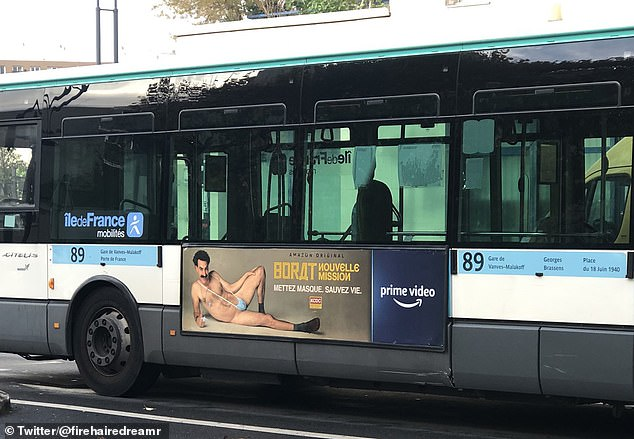French buses remove Borat posters after Muslim outcry over near-naked character wearing 'Allah' ring