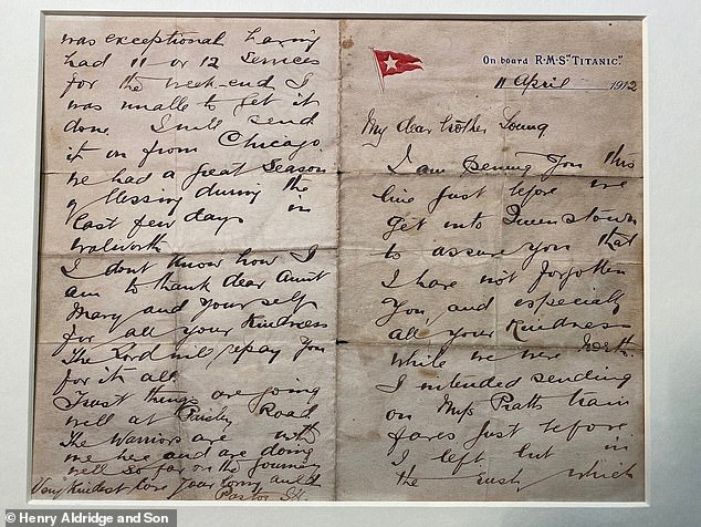 'The warriors are with me here and are doing well so far on the journey,' pastor John Harper in a note while aboard the Titanic. The handwritten letter, written on the ship's official stationery, is expected to fetch between $38,850 and $64,750 at auction this month