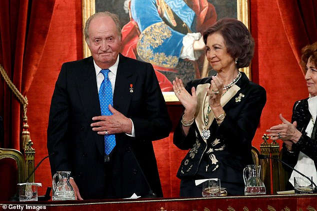 Spanish anti-corruption prosecutors are reportedly investigating Juan Carlos (pictured with his wife Sofia in 2018) over expenditure in the years after his June 2014 abdication when he lost his constitutional protection against prosecution as a serving monarch