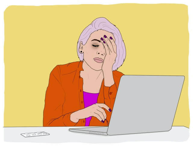 Illustration of a woman sat at her laptop with her hand over her face, looking tired