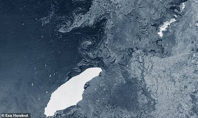 European Space Agency satellite imagery shows the huge iceberg (left) moving towards South Georgia (top right)