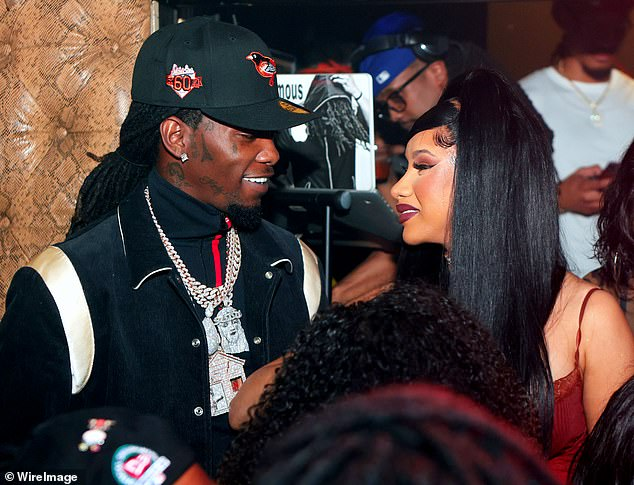 Just us:The pair publicly rekindled their romance throughout Cardi's 28th birthday celebrations in Las Vegas and Atlanta (pictured October 12) in mid-October