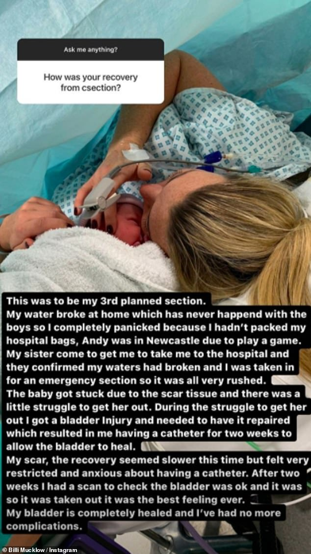 Getting real: She also took to her Instagram story to reveal the details of her traumatic C-section birth which led to a bladder injury and resulted in her having a catheter for two weeks