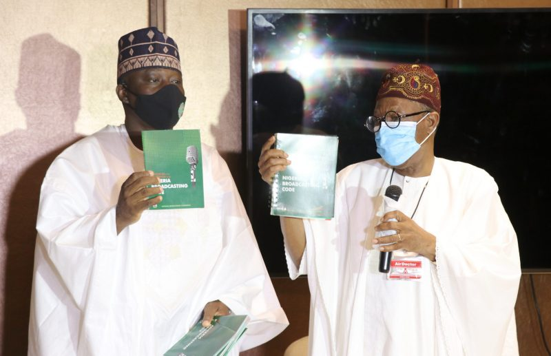 The Minister of Information and Culture, Alhaji Lai Mohammed (right), and the Acting Director General of the National Broadcasting Commission, Prof. Armstrong Idachaba (left), at the unveiling of the reviewed Nigeria Broadcasting Code in Lagos on Tuesday