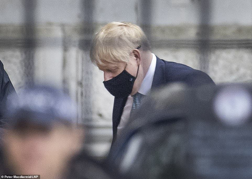 Boris Johnson (pictured in Downing Street today) announced at a press conference on Saturday night that England is being plunged into another lockdown to stop the spread of coronavirus
