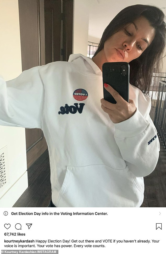 She got the word out too: And Kourtney wore an I Voted shirt for Instagram