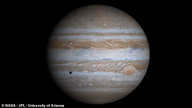 In their study, Dr Clement and his colleagues conducted 6,000 different simulations of the evolution of the Solar System — with a focus on the relationship between Jupiter (pictured here in a true-colour image created from data collected by theCassini mission) and Saturn
