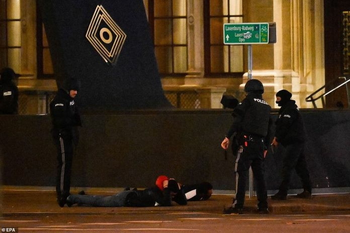 Two pedestrians are ordered onto the ground in central Vienna last night as officers took every precaution while trying to secure the city's streets