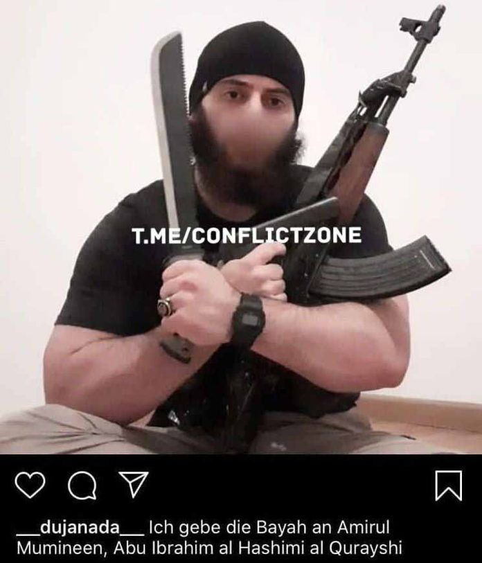 An image posted on Instagram which purports to show the attacker posing with a Kalashnikov rifle, a handgun and machete before the attack. The caption pledges allegiance to the leader of ISISAbu Ibrahim al-Hashimi al-Quraishi.