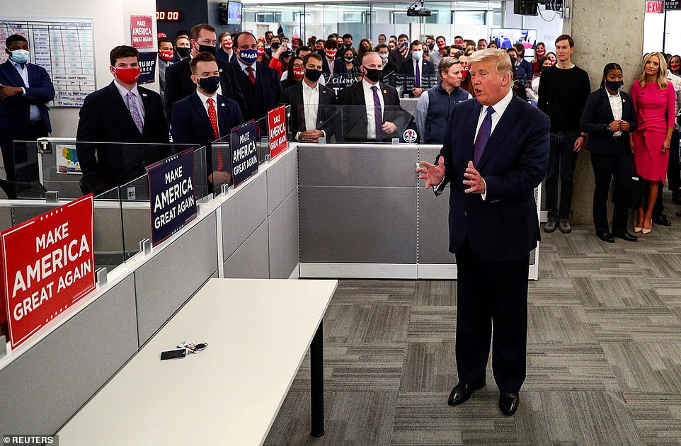 Trump sent mixed-messaging on when he feels the winner of the election will be known as he told a room full of his staffers at his Arlington, Virginia campaign headquarters: 'Losing is never easy. Not for me, it's not'