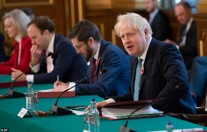Boris Johnson leads a Cabinet meeting in London this morning