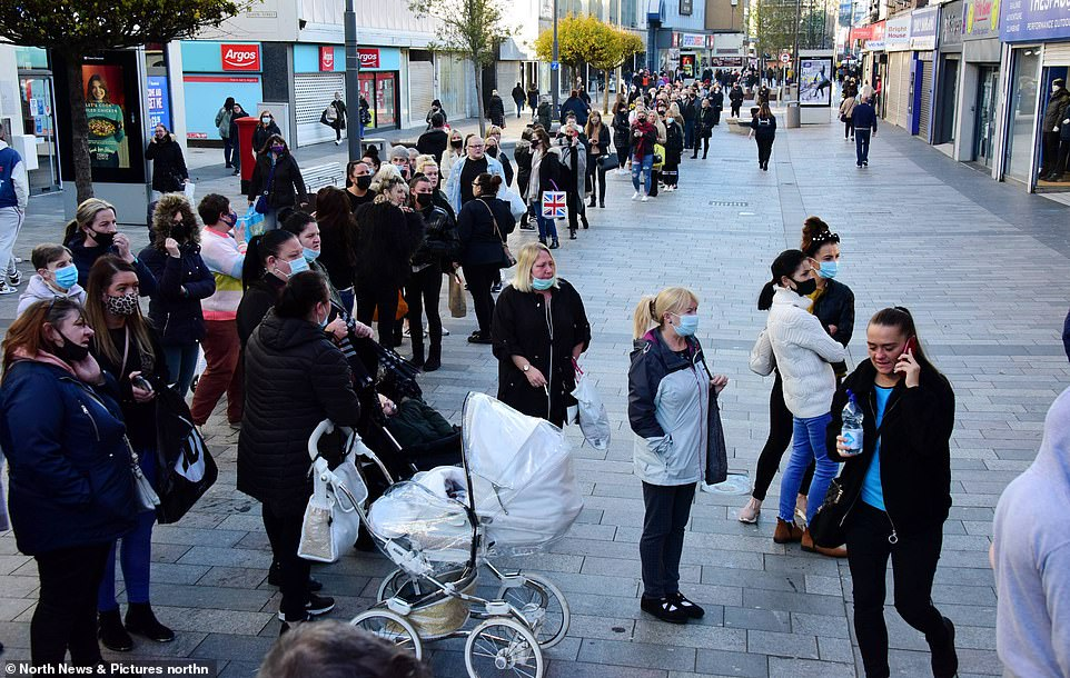 There were huge queues outside the Primark store in Sunderland this morning