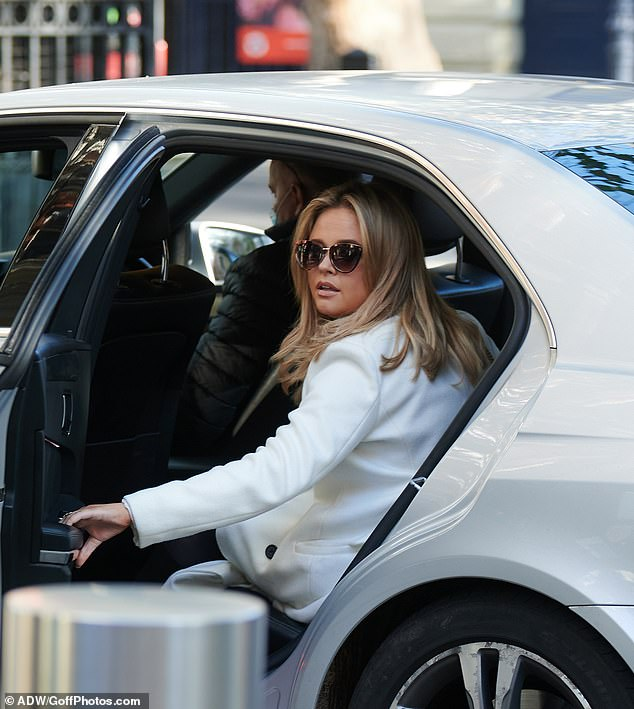 Bye for now: The British star acknowledged onlookers as she climbed into a waiting car after her appearance on Heart Radio