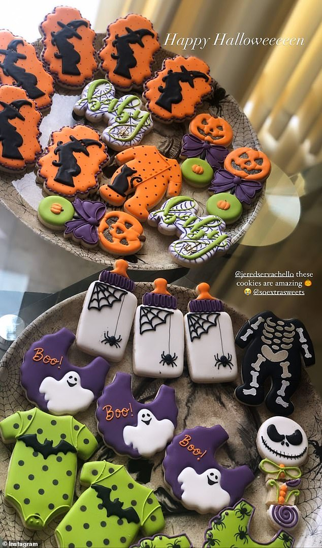 Haunted shower: The Canadian actress had the cutest Halloween-themed shower with spooky cookies shaped like onesies, rattles and bottles