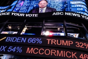 People wait on election results in Time Square in Manhattan, New York on Tuesday, November 3, 2020.