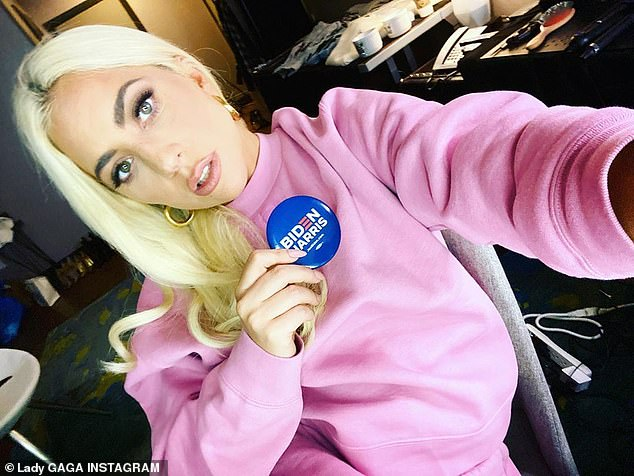 Talk about it: Lady Gaga has remained a vocal and physical presence for the Biden Harris campaign as she shared a selfie from the campaign trail in Pennsylvania