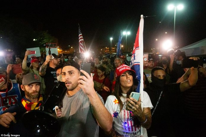 Angered protesters descended on the center in Phoenix where the majority of the remaining votes are still to be counted