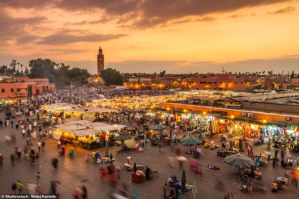22. MARRAKESH, MOROCCO: The Moroccan city boasts 'stunning luxury hammams and gorgeous riads' with Big 7 Travel adding its 'architecture is simply breathtaking'