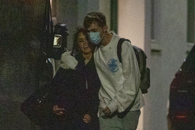 Strictly star HRVY and dance partner Janette Manrara cuddle up as they leave rehearsals