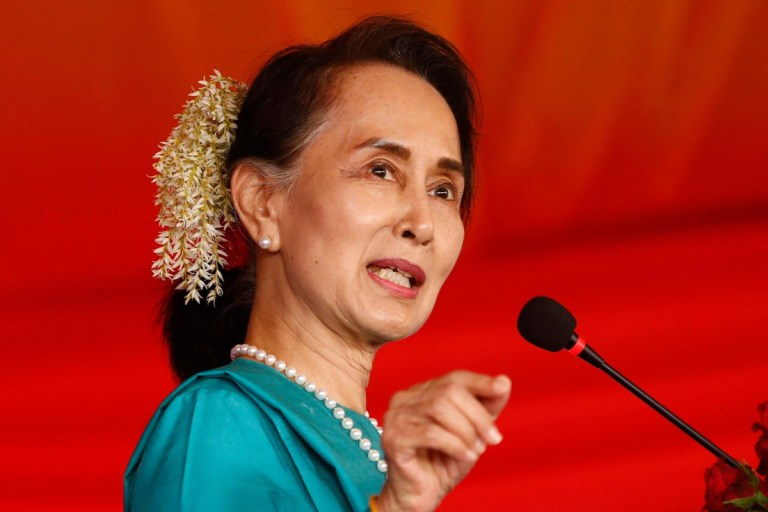 Who is Aung San Suu Kyi and what are the accusations against Myanmar's leader?