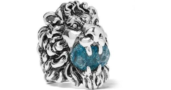 gucci-silver-Lions-Head-Silver-tone-Swarovski-Crystal-Ring-Silver