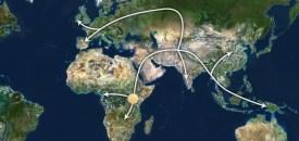 De oermens trok vanuit Afrika en via het Midden-Oosten de rest van de wereld in. Beeld: CNN/Tracing mankind's ancestors