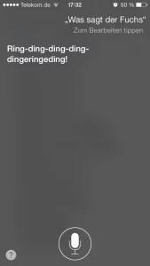 Siri, What Does the Fox Say? (Screenshot: NewsCouch.de)