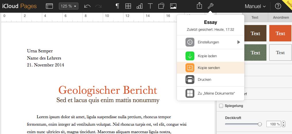 iWork in iCloud jetzt auch auf Deutsch verfügbar