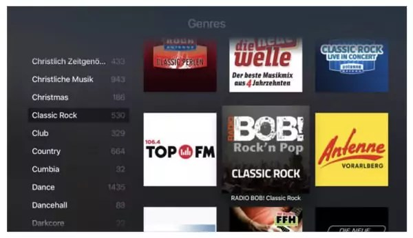 Apple TV - radio.de App
