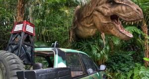 Jurassic Park Tyrannosaurus exhibit in Universal Studios Islands of Adventure, Orlando, Florida.