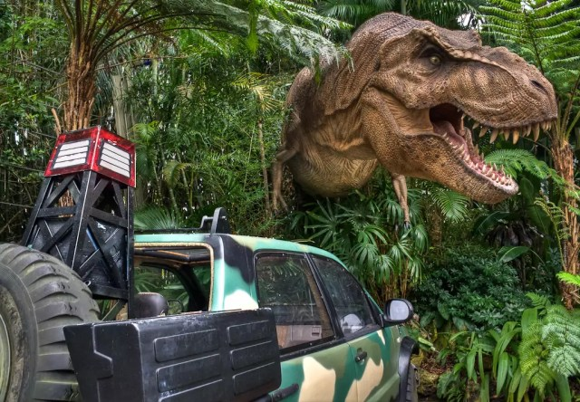 Jurassic Park Tyrannosaurus exhibit in Universal Studios Islands of Adventure, Orlando, Florida.