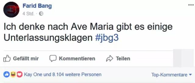 Farid Bang auf Facebook zu Ave Maria