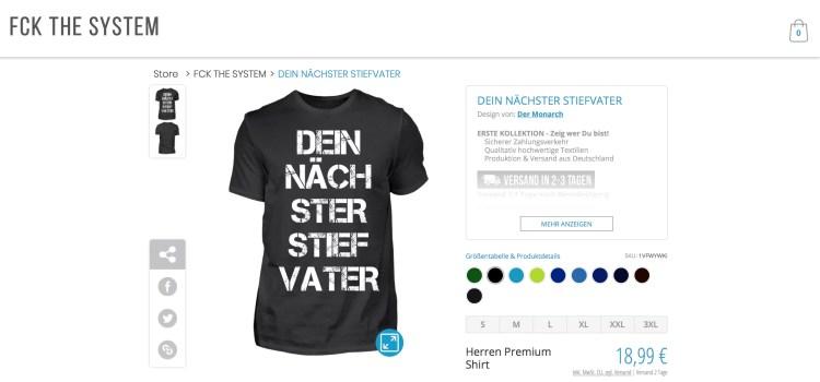 T-Shirt Produktseite: Dein nächster Stiefvater