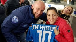 Jana Maradona ospite del Napoli Club Campobasso al San Paolo in occasione della gara Napoli – Lazio.