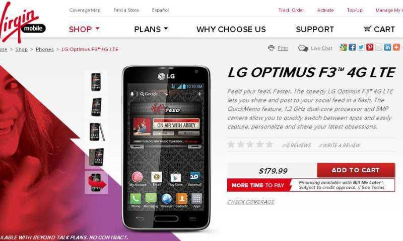 LG Optimus F3 disponibile a 179.99$ su Virgin Mobile
